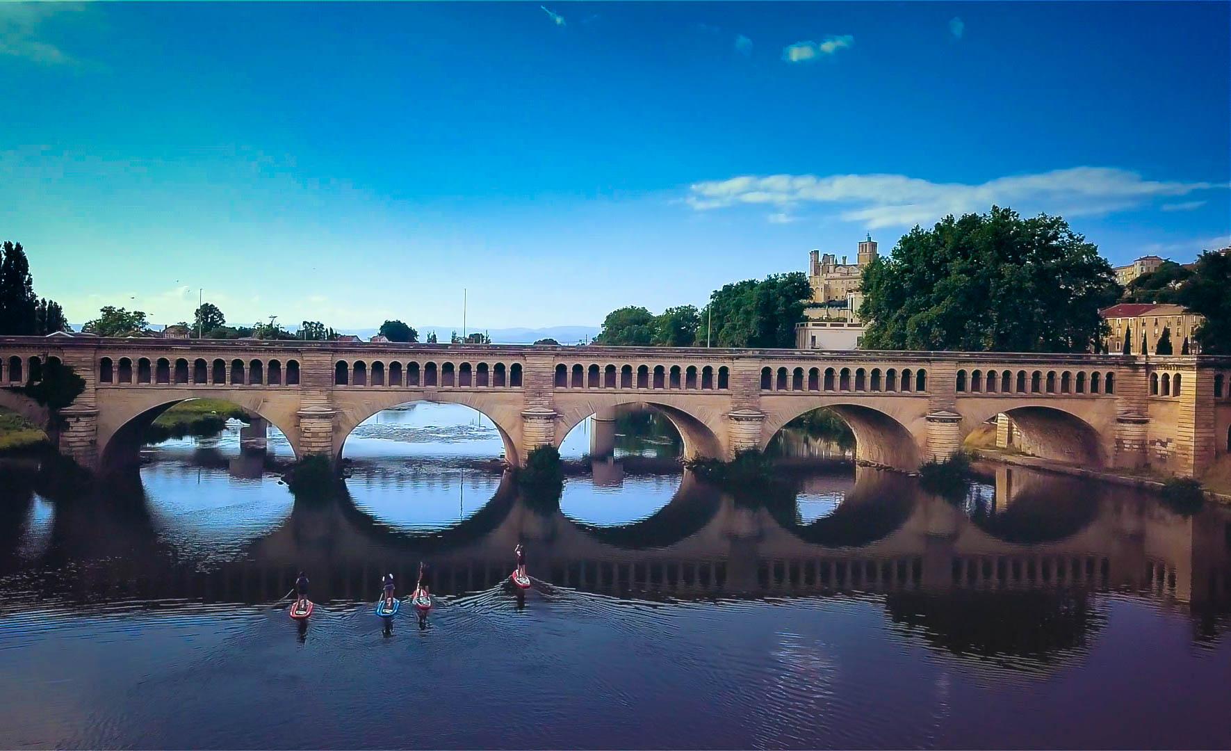 Pont canal à Béziers, canal du Midi