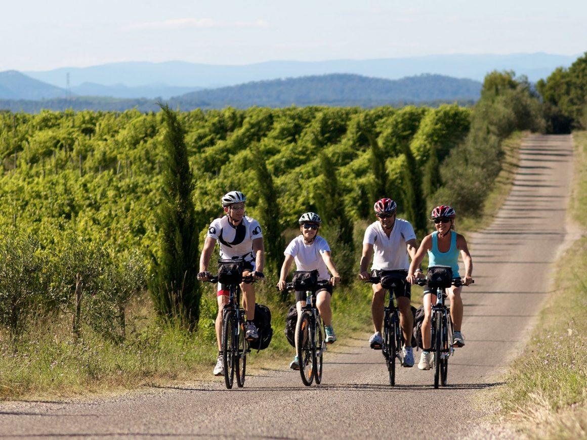 Un groupe de d'amis jeunes, en train de faire du vélo dans les vignes au coeur du Pays de lunel