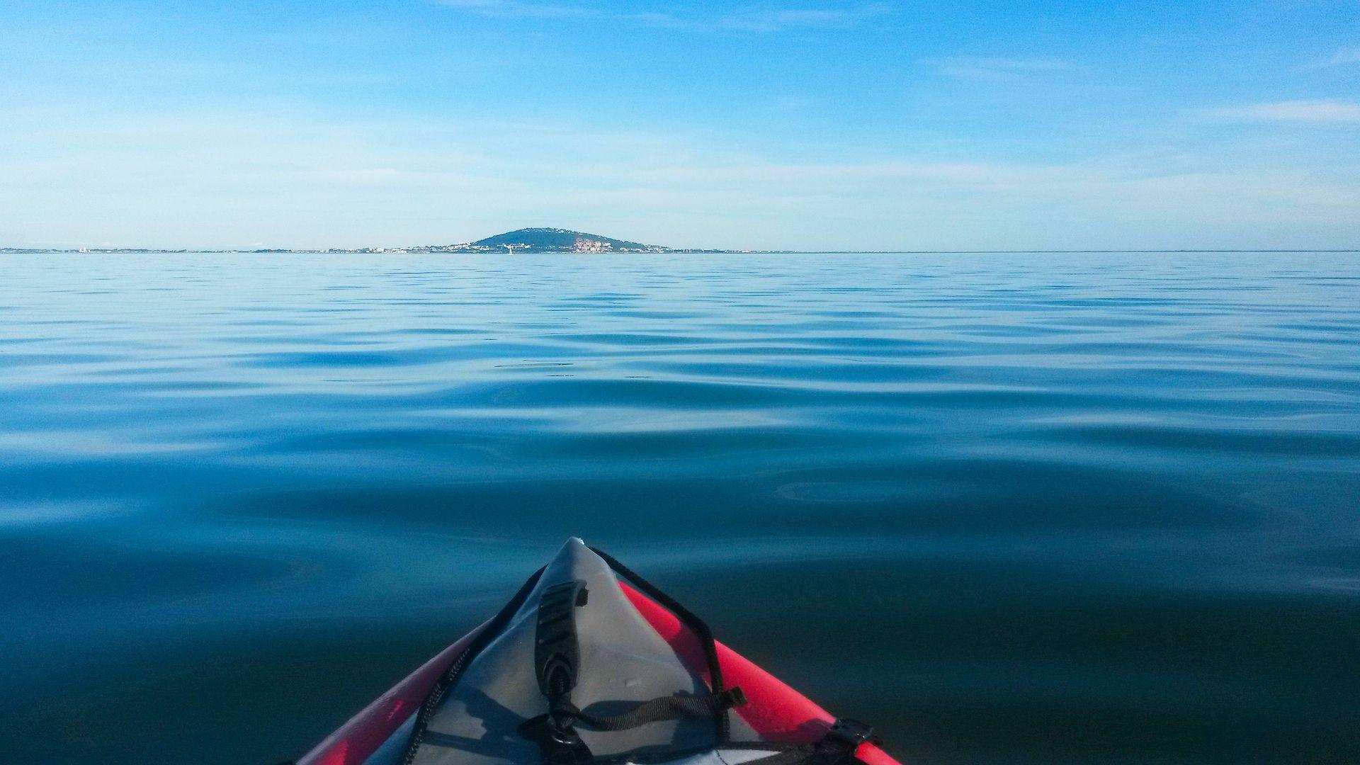 kayak sur l'étang de Thau