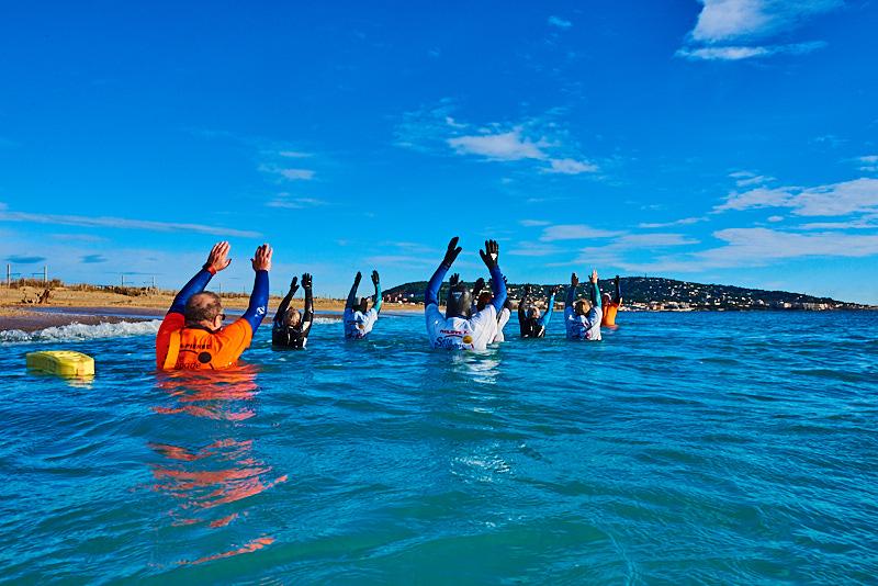 Groupe de jeuniors en Longe-côte à Sète