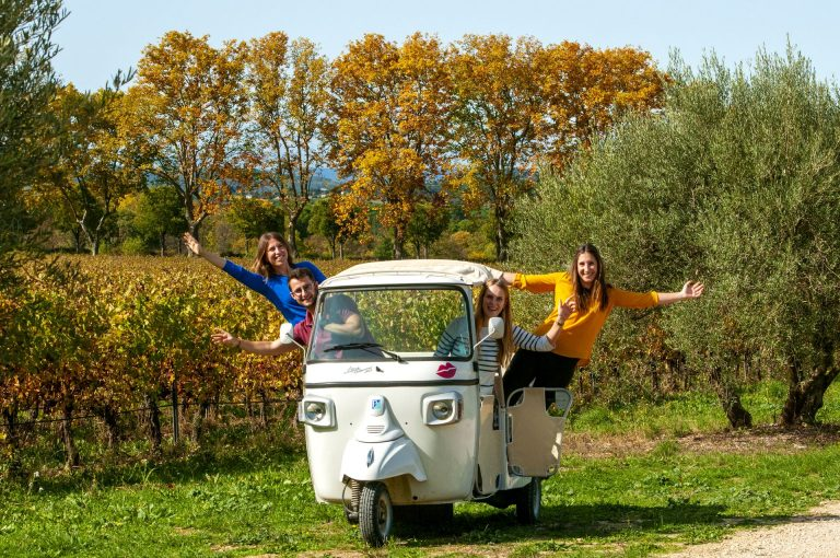 Groupe de jeunes en tuk tuk dans les vignes