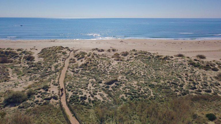 Vue aérienne des dunes et de la plage aux Orpellières
