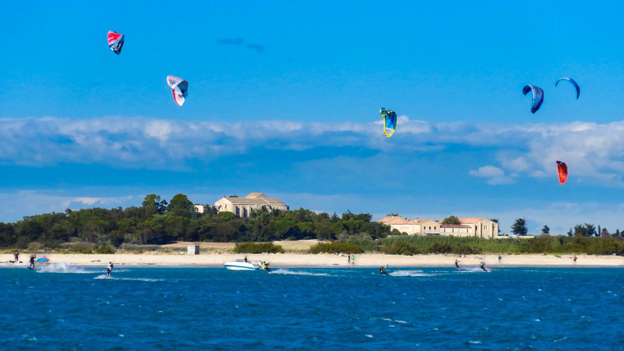 Kite surf à Maguelone