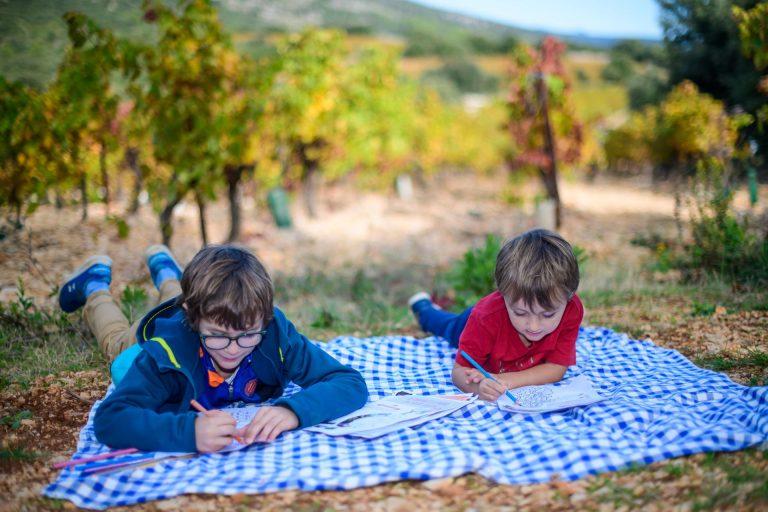 Deux enfants, un moment de détente au pied des vignes. Coloriage sur la nappe de pique-nique