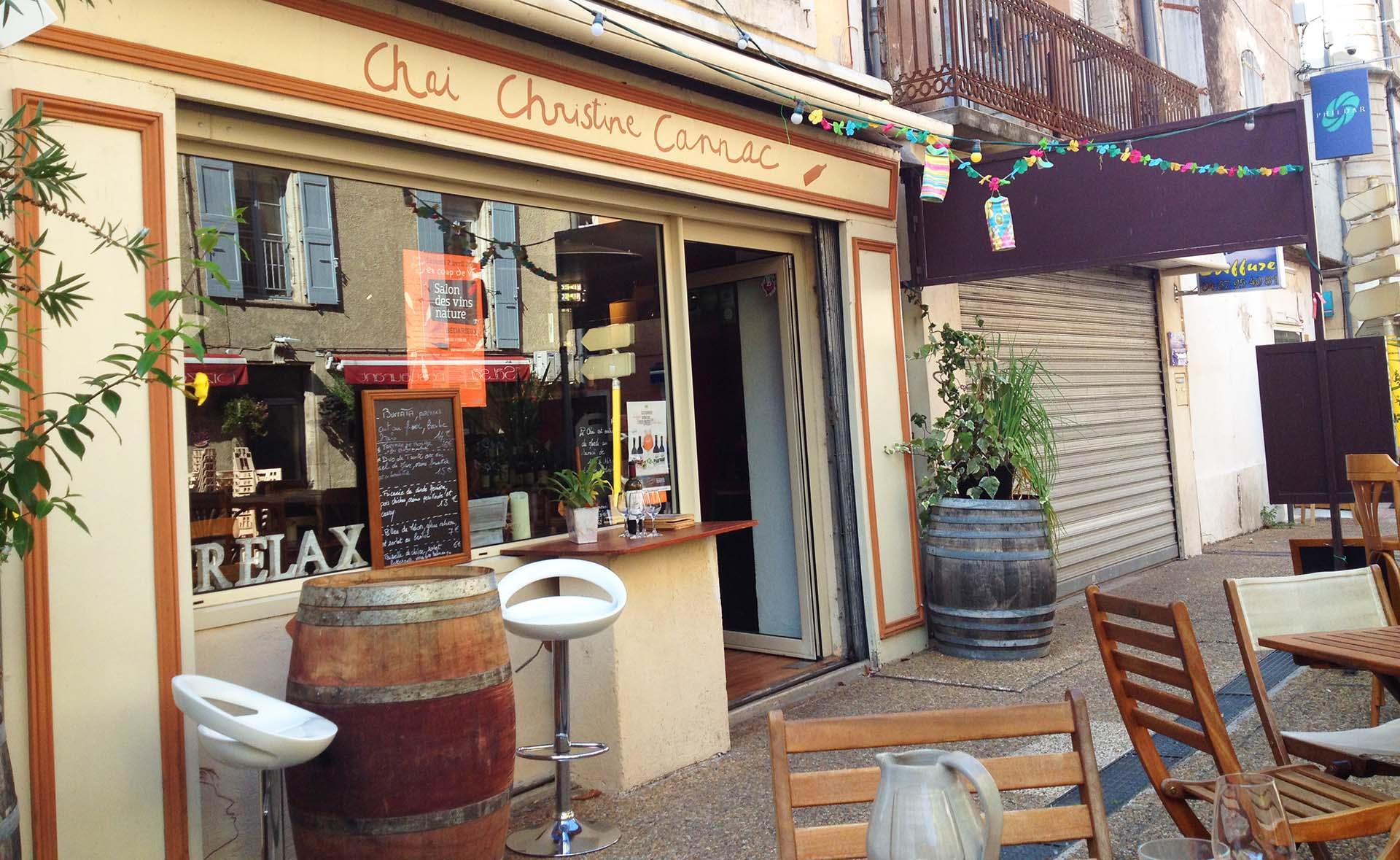 Terrasse du Bar à Vins Naturels de Bédarieux - Chai Christine Cannac