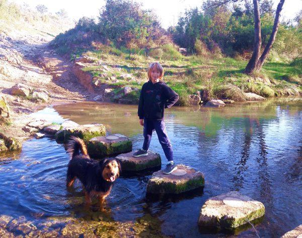 Un enfant qui se balade en famille avec son chien, Ruine du pont des Tourilles sur la Cadoule, un cours d'eau à Castries