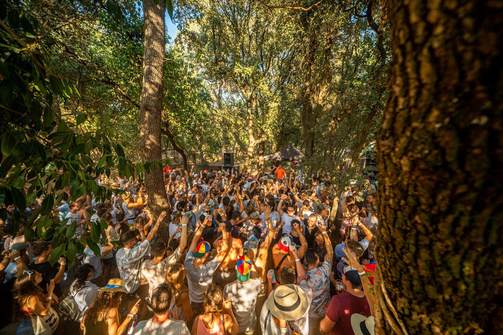 Festivaliers du Family Piknik en train de danser en journée au milieu des pins du Domaine de Grandmont à Montpellier