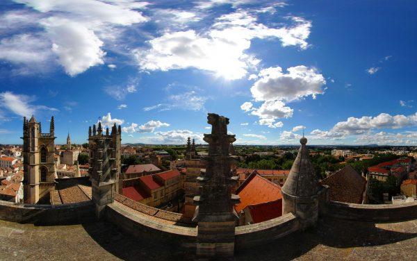 Vue panoramique depuis la tour Urbain V de la cathédrale Saint Pierre à Montpellier