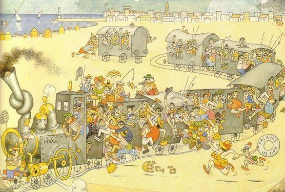 Petit train de Palavas les Flots dessiné par Albert Dubout
