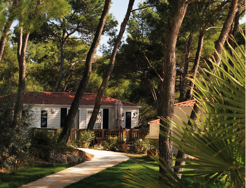 Vue sur une allée du Camping la Pinède à Castelnau de Guers, avec des mobile-homes et des pins
