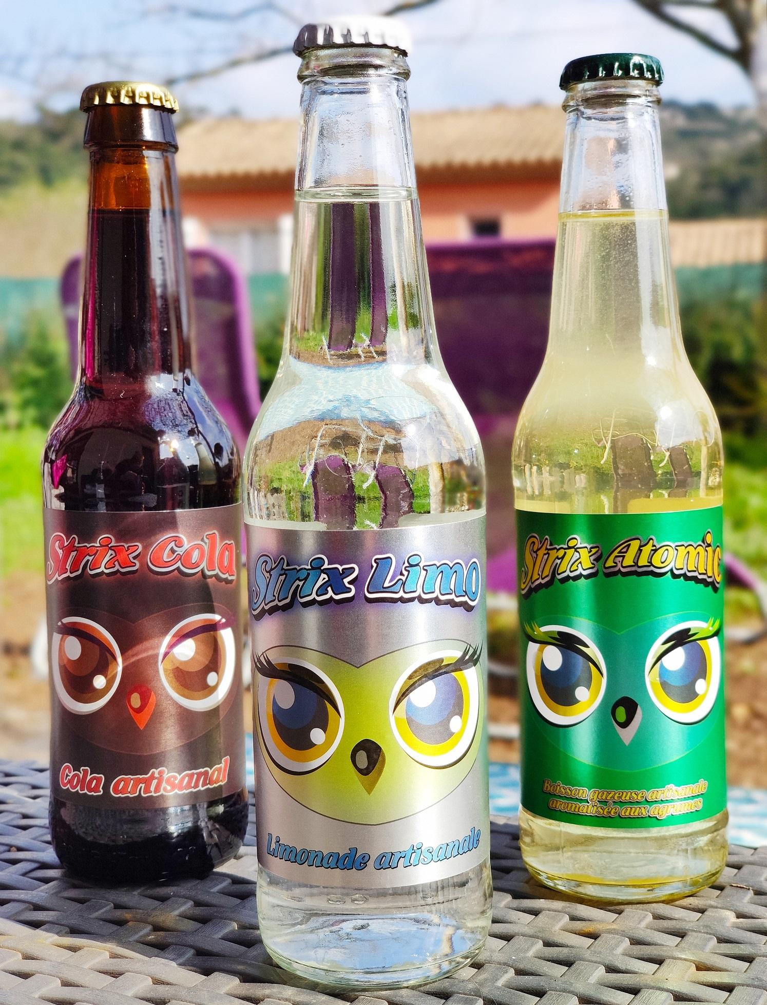 Bouteilles des 3 gammes de sodas artisanaux de la Brasserie des Aucels à Bédarieux