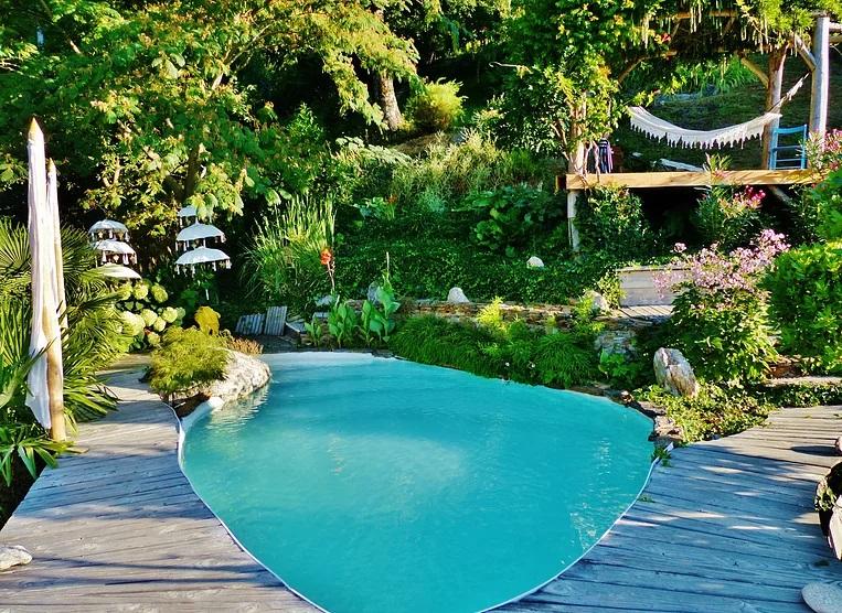 vue sur la piscine de la cabane du vertige du tigre