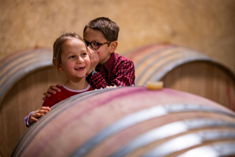 2 enfants qui jouent au caveau au Domaine Laroque Fontanes