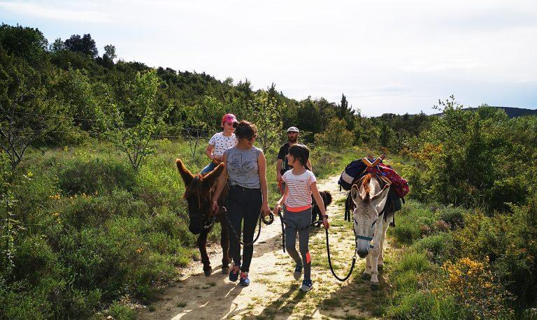 Famille en balade avec des anes avec Hakun Anes Matata